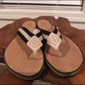Chanel Marc Wood Beach Sandals- Authentic- Size 10